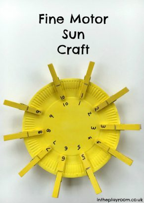 Fine Motor Sun Craft to work on Number Matching