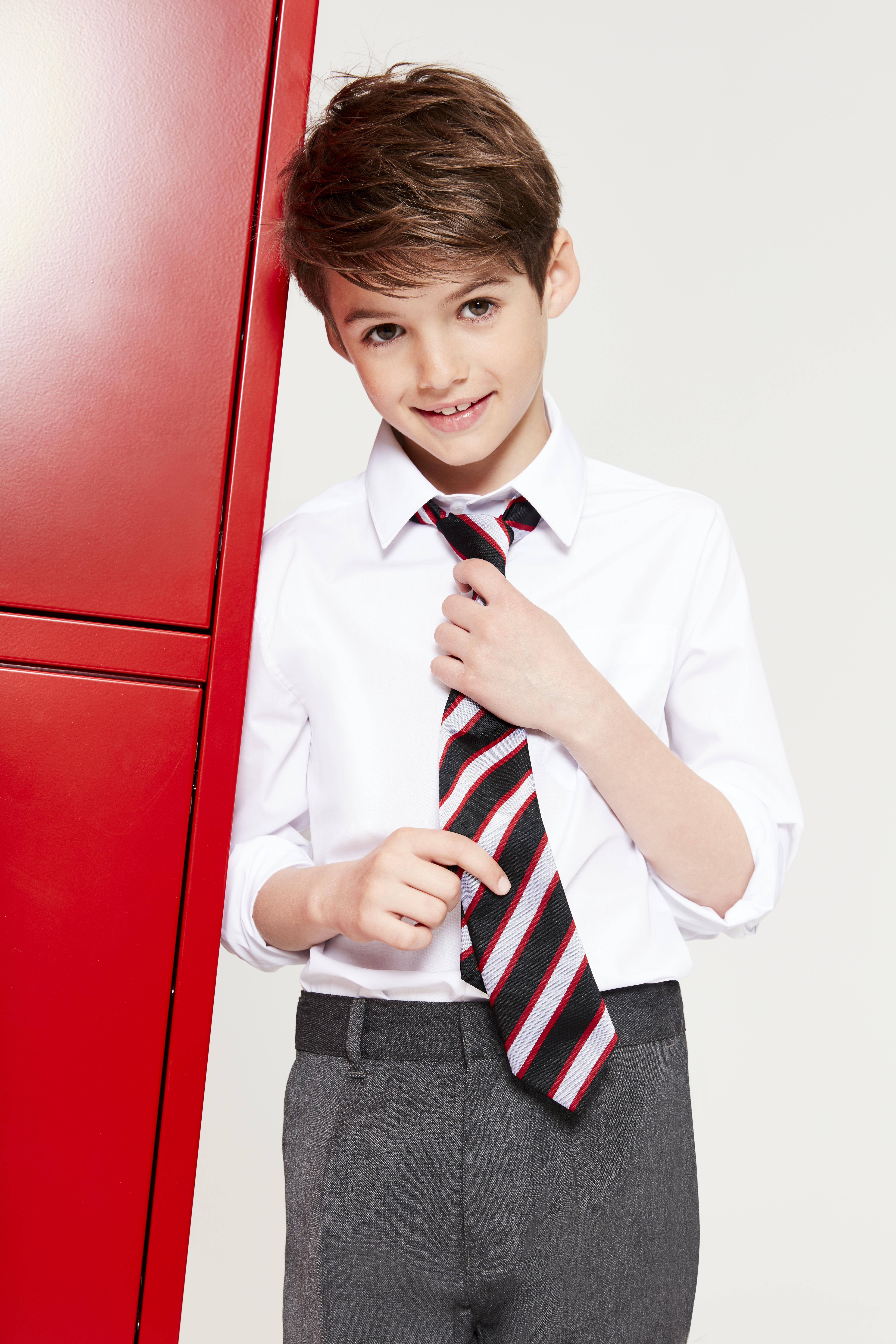 F&F BOYS 2PK LONG SLEEVE EASYCARE SHIRTS WHITE £3.50, DK GREY PLEAT FRONT TROUSERS £4