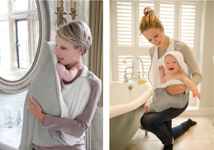 New Cuddledry Hands Free Grey Stars Baby Apron Bath Towel