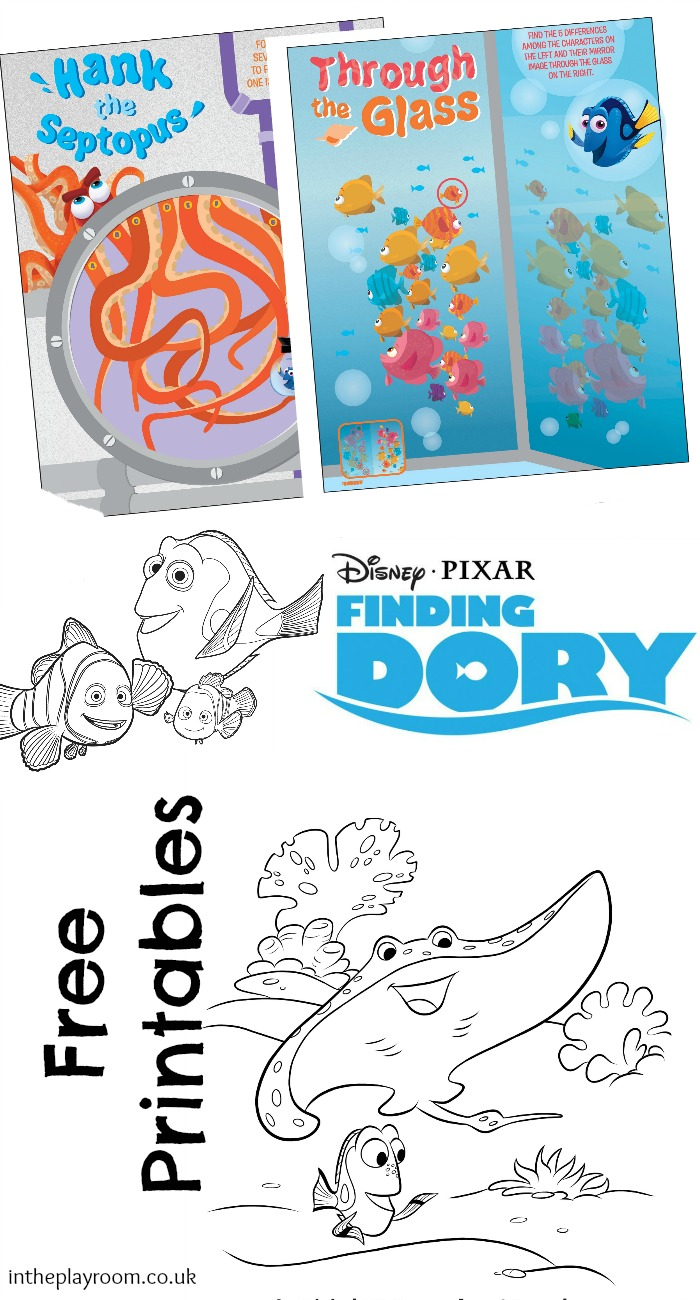 Finding Dory Colouring Pages and Activity Sheet Printables