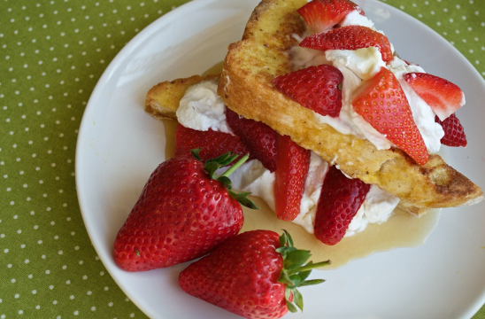 French toast stacks with strawberries